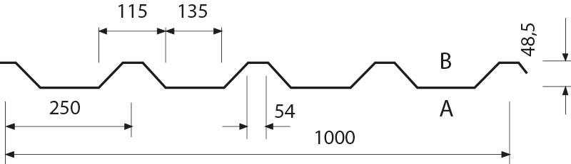 Beliebt Trapezblechprofil 50/250 Dach und Wand - Hoffmann Trapezbleche US52